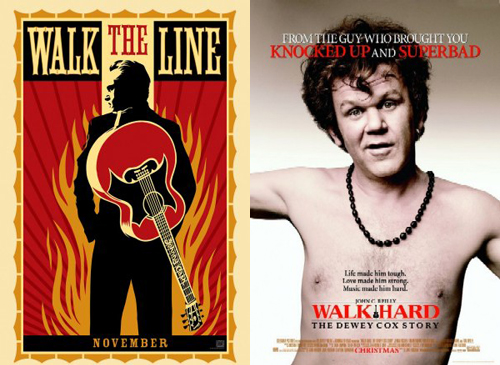 "Posters for ""Walk the Line"" and ""Walk Hard"""
